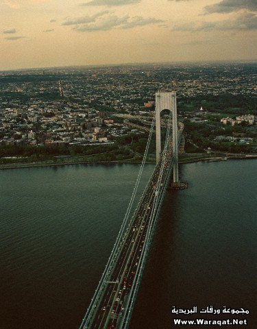 Aerial view of the Verrazano-Narrows Bridge towards Brooklyn, New York City, New York State, USA