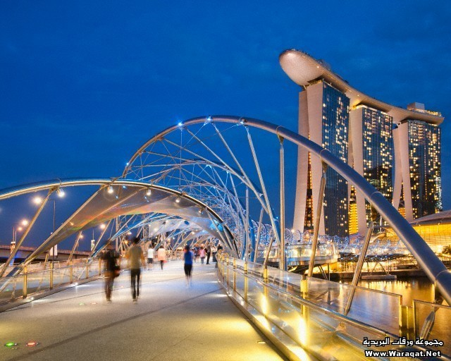 The Helix Bridge and Marina Bay Sands Hotel, Singapore