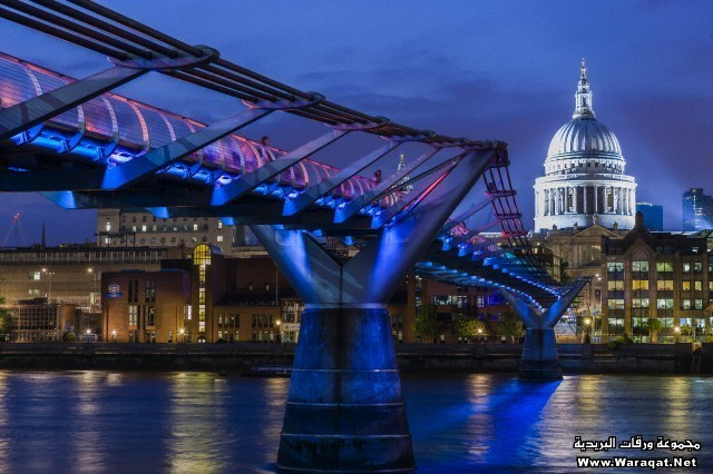 The Millennium Bridge, the dome of St Paul's Cathedral and the river Thames