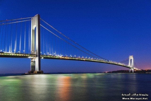 Verrazano-narrows bridge after sunset, New York City, USA