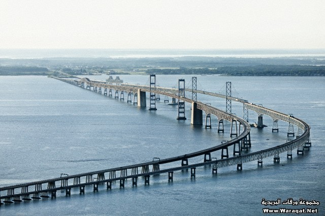 Aerial view  of Chesapeake Bay Bridge connecting Western Shore of Maryland at Sandy Point to Kent Island, Maryland, USA