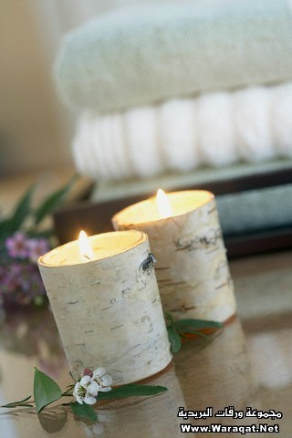 Candles wrapped in birch bark