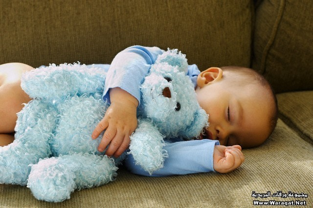 Baby Boy Sleeping with Teddy Bear