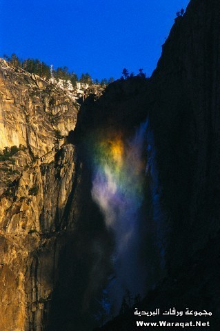 Rainbow Mist at sunrise, Yosemite Falls, Yosemite National Park, California