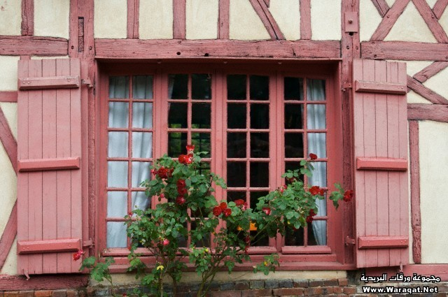 Faded Red Medieval Window with Shutters