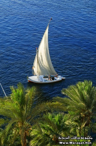 Egypt, Upper Egypt, Aswan, felucca on Nile River