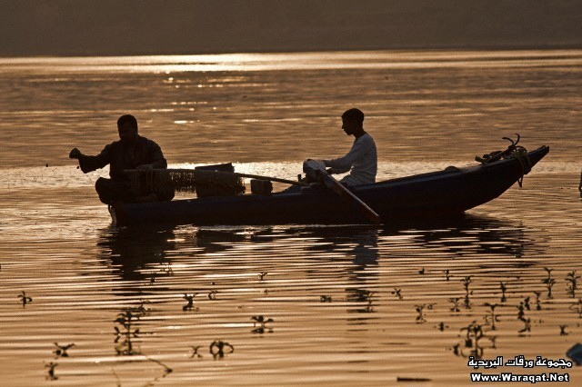 Fishermen on river Nile at Luxor, Egypt