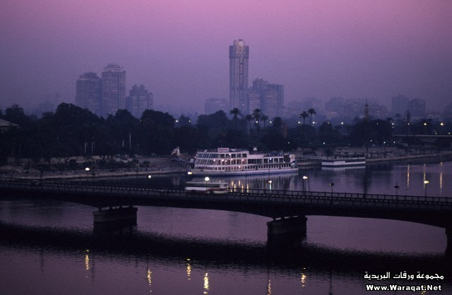 An overview of Cairo at night, Egypt.