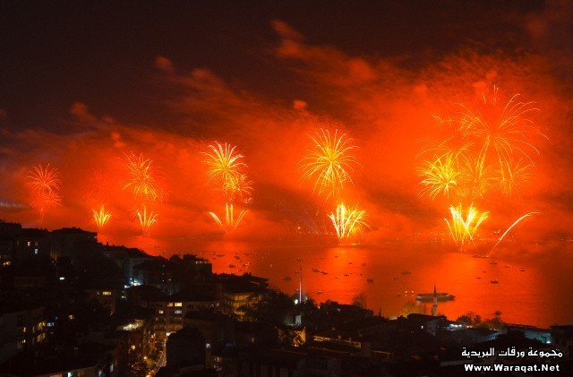 Fireworks display above the Bosphorus, Istanbul, Turkey