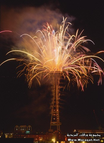 Fireworks From Space Needle in Seattle