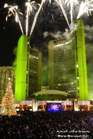 Fireworks on the beginning of Christmas holidays. Cavalcade of Lights in Toronto. City Hall, Nathan Phillips Square, Toronto, Ontario, Canada 2008.