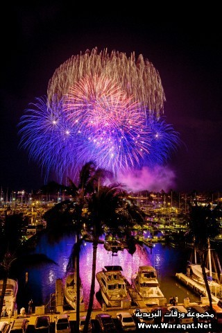 Fireworks display above Ala Wai Yacht Harbor