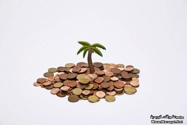 A cardboard palm tree and pile of European Union coins below