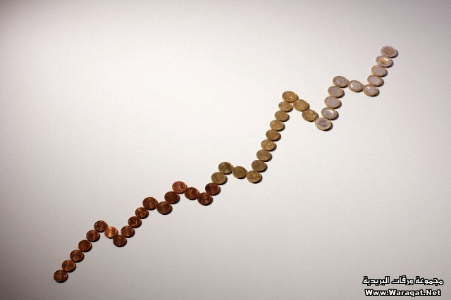 European Union coins arranged into an increasing line graph