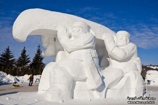 Canada, Province of Manitoba, Winnipeg, the Festival du Voyageur, international competition Snow Sculpture