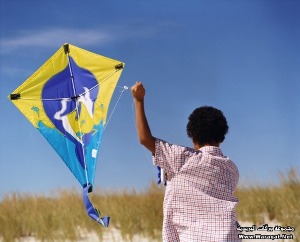 Boy Launching His Kite into Air