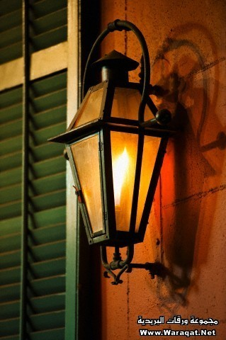 Lantern,wall of building in French Quarter of New Orleans