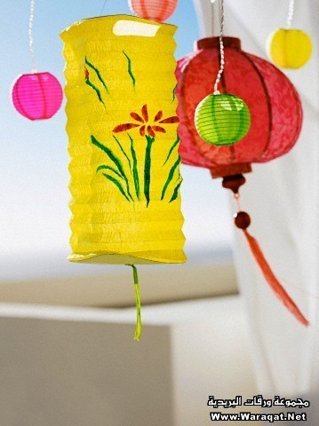 Decorative coloured paper lanterns