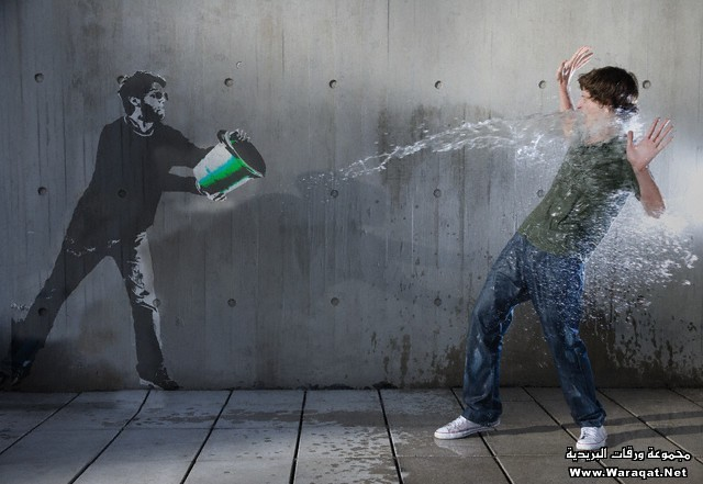 Chalk drawing of man splashing real man