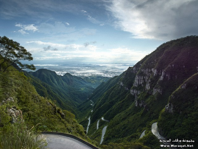 View over valley and famous mountain road, Brazil