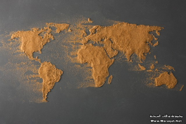 The global map made of sand