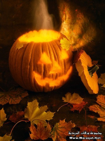Jack-o-lantern with Faint Ghost Rising Out of the Top Surrounded by Fall Leaves