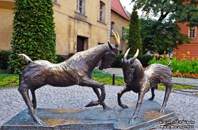 Poland, Europe, Poznan, Goat statue, historic old town