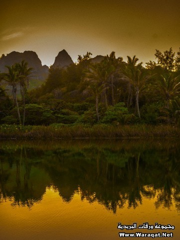 Kalalea Mountains and Anahola River, Kauai, Hawaii, USA