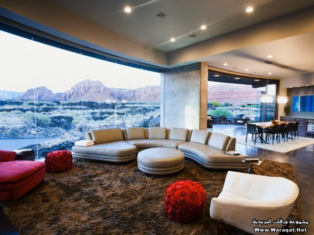 USA, Utah, St. George, Modern living room interior facing terrace