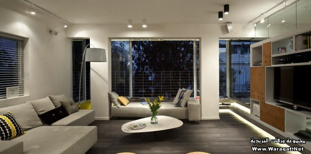 Luxury living room with plasma screen in Amir Navon House, Israel.