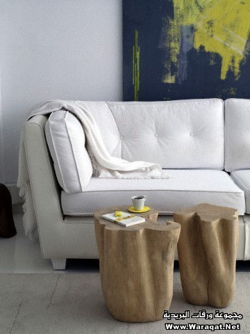 End of sofa with tree trunk coffee table and artwork in residential French home.