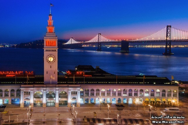San Francisco building and bridge at night