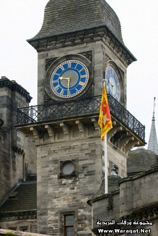 Clock tower of the historic medieval Dunrobin Castle in the northern highlands of Scotland. The ancestral seat of the Dukes of Sutherland.
