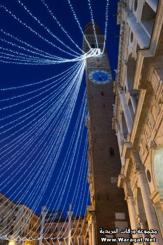 Vicenza, Christmas lights at the Piazza dei Signori with the Palladian Basilica and the Torre Bissar