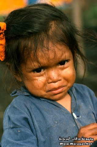Sad Girl at a Refugee Camp for Hurricane Victims