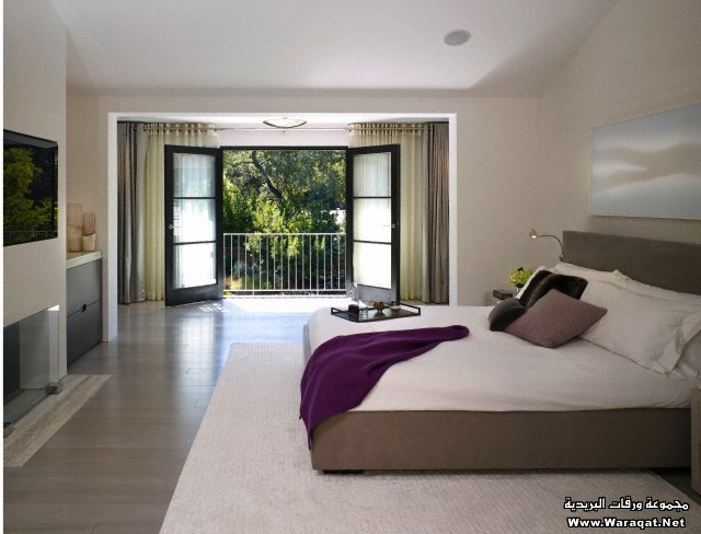 Double bed in room with open balcony doors, Stone House, Atherton, California, USA.