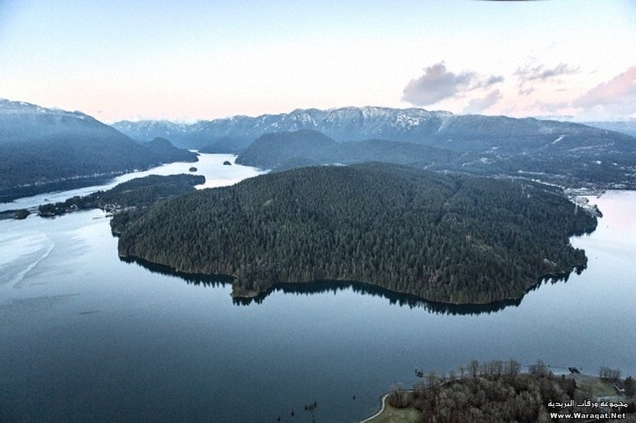 Elevated view of island on mountain lake