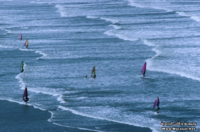 UK - Lynton - Aerial view of windsurfers